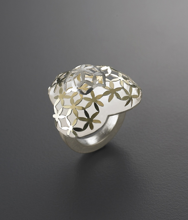 Youngjoo yoo, hand fabricated ring,sterling silver,18kt gold