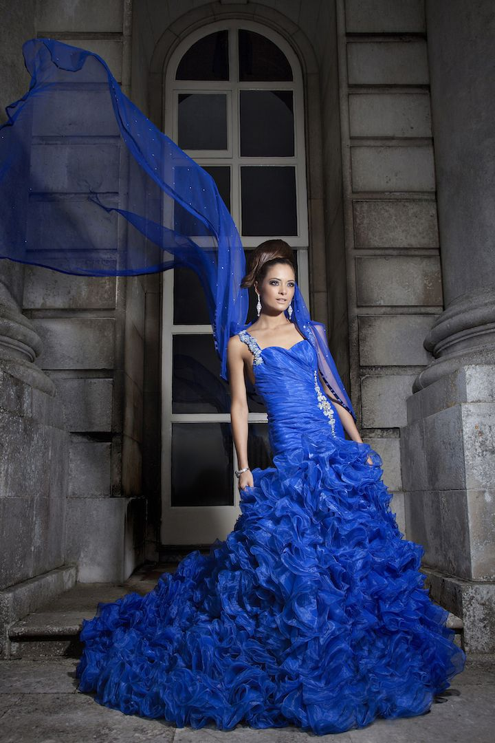 Vibrant Royal Blue gown made of organza and satin with crystal stone embroidery