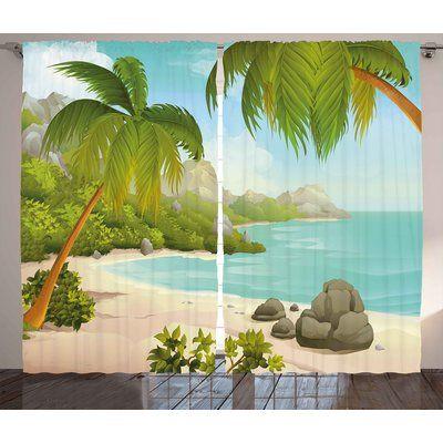 "Zoomie Kids Clancy Tropical Decor Graphic Print & Text Semi-Sheer Rod Pocket Curtain Panels Size: 54"" W x"
