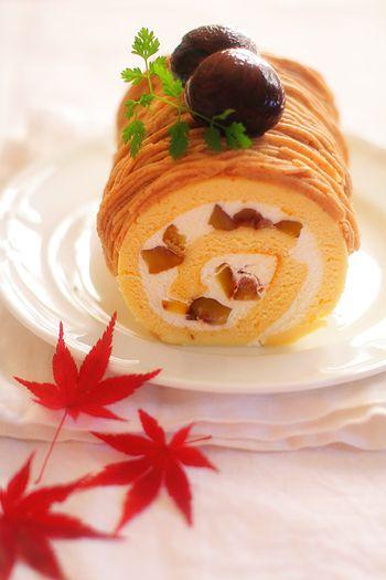 渋皮煮でモンブランロールケーキ : nag