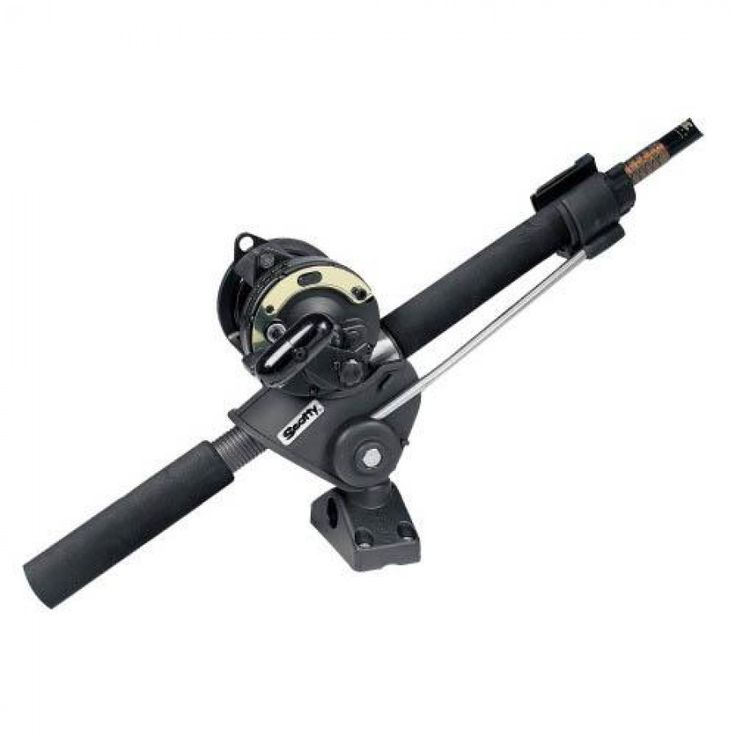 """scotty striker rod holder w/ 241 side/deck mount  Scotty 240 #Strike #Rod #Holder comes with 241 Combination Side/Deck Mount which allows mounting on a flat deck surface or on the side of a gunnel or transom. The inner support rotates with the rod to instantly remove and """"strike"""" simultaneously."""