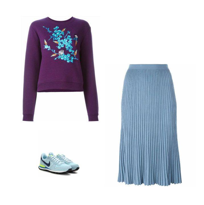 Casual Monday: Carven sweatshirt, Christian Wijnants pleated skirt, Nike sneakers