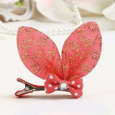 JRK Kids Bowknot Ear Shape Clip Gold Color+watermelon | pinknee.com