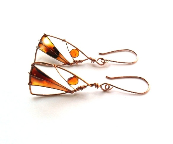 Autumn Landscape Triangle Earrings - Wire Wrapped and Resin Copper Earrings teamt. $22.00, via Etsy.