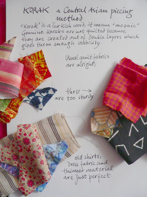 Colourful Research -- a Creative Diary: Korak Tutorial. Fantastic method of piecing using a foundation fabric.