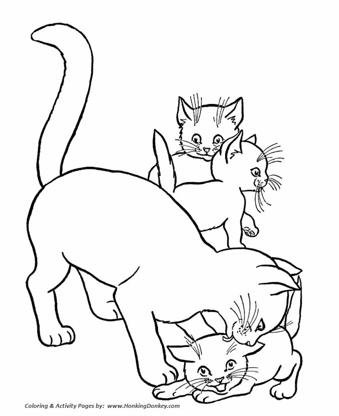 Cat Coloring Page Free Printable Mother And Kittens Pages Featuring Hundreds Of Kitty Cute Kitten