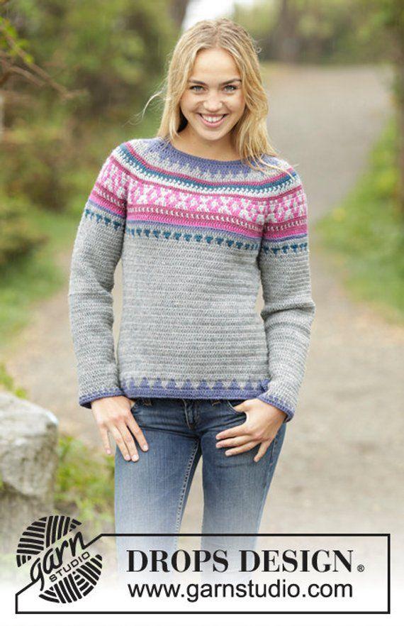 545e58f0c Crochet Helsinki Womens Fairisle Nordic Wool Pullover Sweater ...