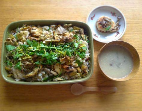 aromammaya通信;ニジマスとアーティチョークのちらし風ごはん+菊芋の擦りながらし風豆乳味噌仕立て