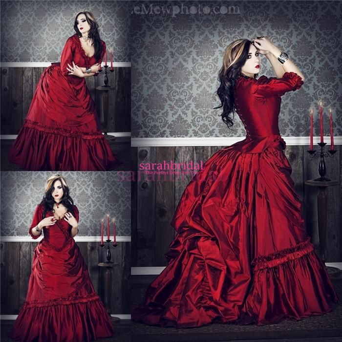 2017 Gothic Wedding Dresses Halloween Victorian Bridal: 2017 Wine Red Dracula Mina Movie Ball Prom Gown Vintage
