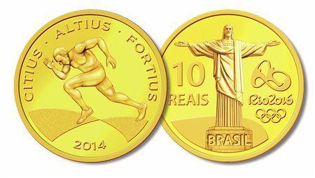 ブラジル中央銀行が発売した2016年リオデジャネイロ五輪の記念硬貨(ブラジル中央銀行提供) ▼29Nov2014時事通信 リオ五輪の記念硬貨発売=ブラジル http://www.jiji.com/jc/zc?k=201411/2014112900089