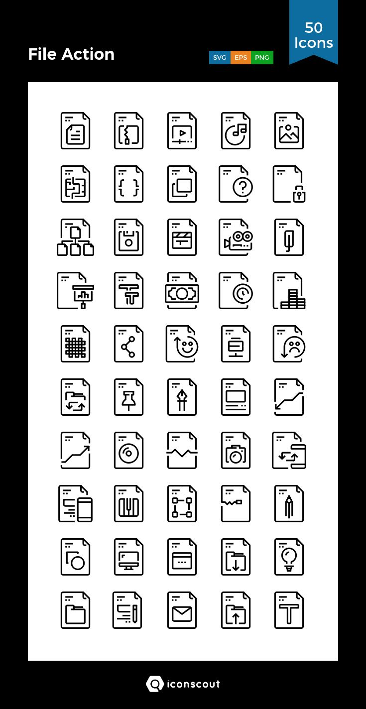 File Action   Icon Pack - 50 Line Icons