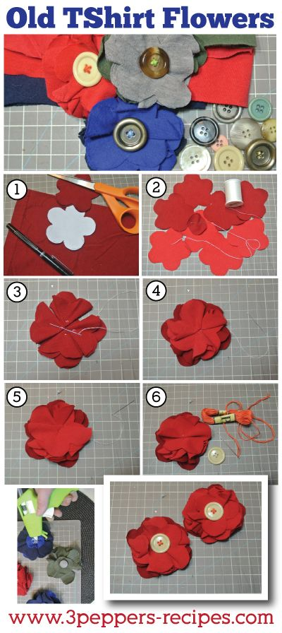Old TShirt Flower Easy DIY Tutorial... Then attach to a cloth headband would be super cute!