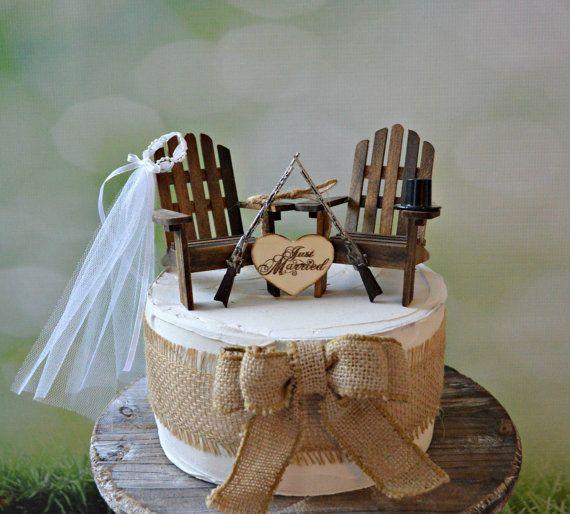 Country-wedding-cake topper-western-hunting-shot gun-riffle-gun-Adirondack-chair-hunter-hunting groom-groom's cake-deer hunter-camouflage