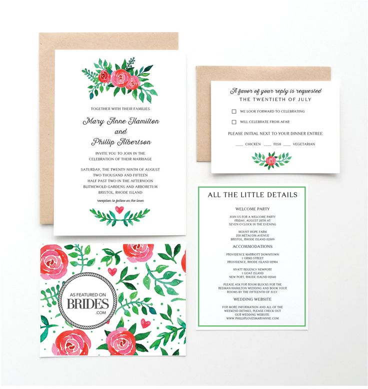 Tea Rose Garden Wedding Invitations, as seen in Brides Magazine, Pink and Green Floral by seahorsebendpress on Etsy