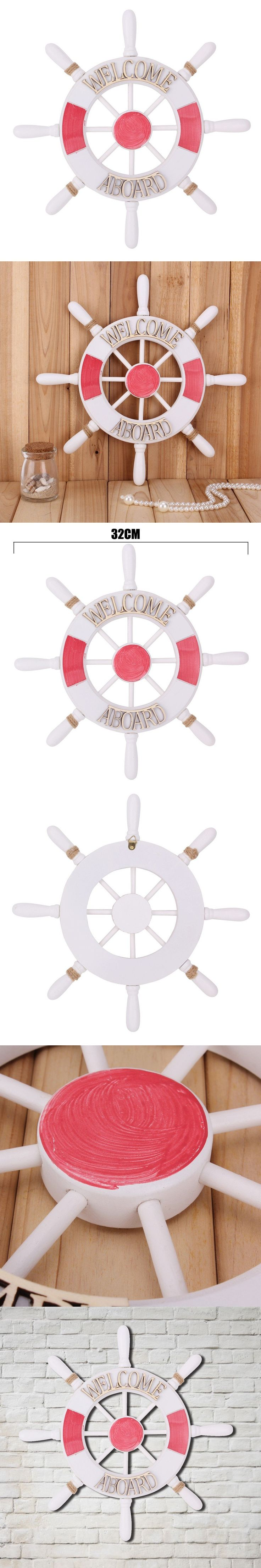 Welcome aboard boat ships life ring clock - 32cm Wall House Babyroom Home Decoration Nautical Mediterranean Style Nordic Wooden Boat Wheel Rudder Helm Welcome Aboard