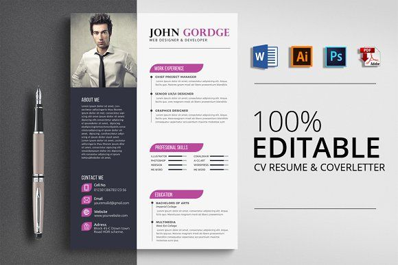Creative Word CV Resume Template By Psd Templates On Creativemarket