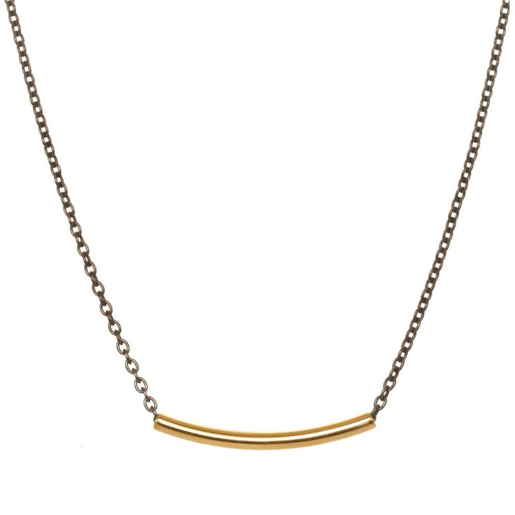 "1 ½"" gold plated hollow curved bar with  18"" oxidized cable brass chain running through it."