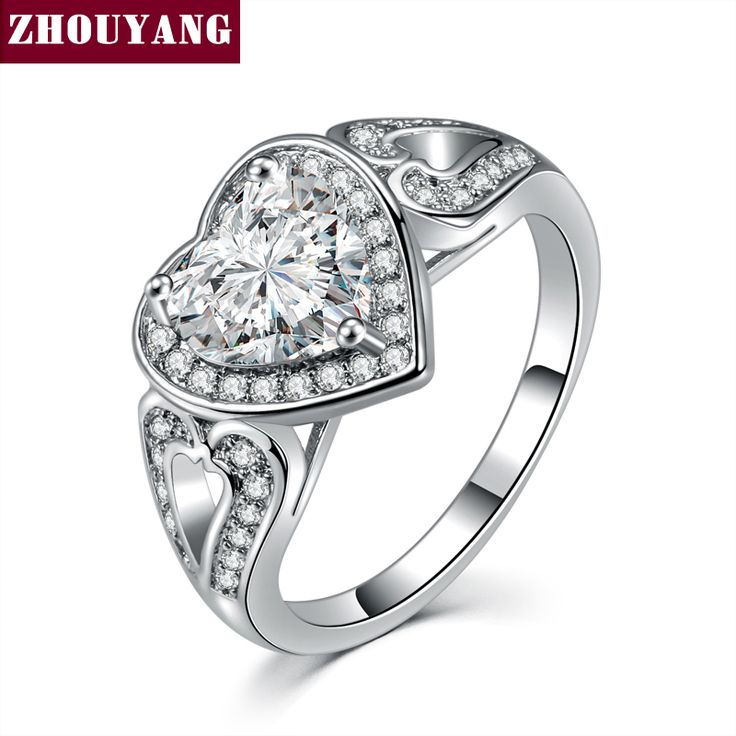 White Gold Plated Princess Heart Shaped CZ Fashion Wedding & Engagement Ring Jewelry For Women ZYR561