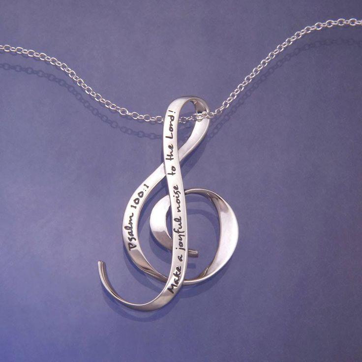 Sterling Silver Scripture Verse Necklace | Make a Joyful Noise | Psalm 100