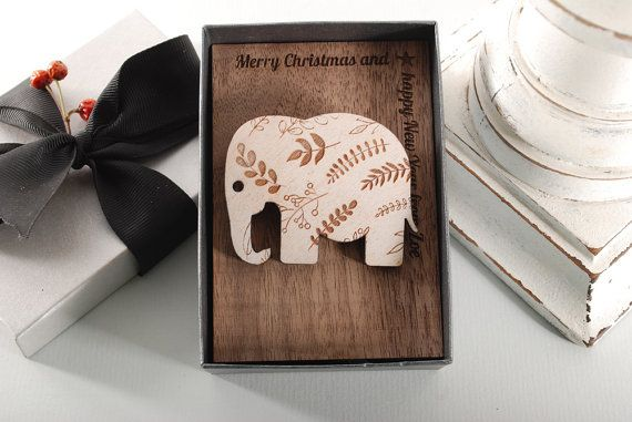 ELEPHANT BROOCH  ready to give gift box solid Beech by MoodForWood