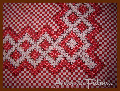 Artes da Fátima: Bordado em Tecido Xadrez