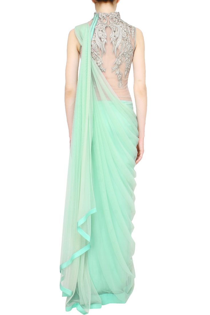 Aqua saree gown with floral zari embroidery