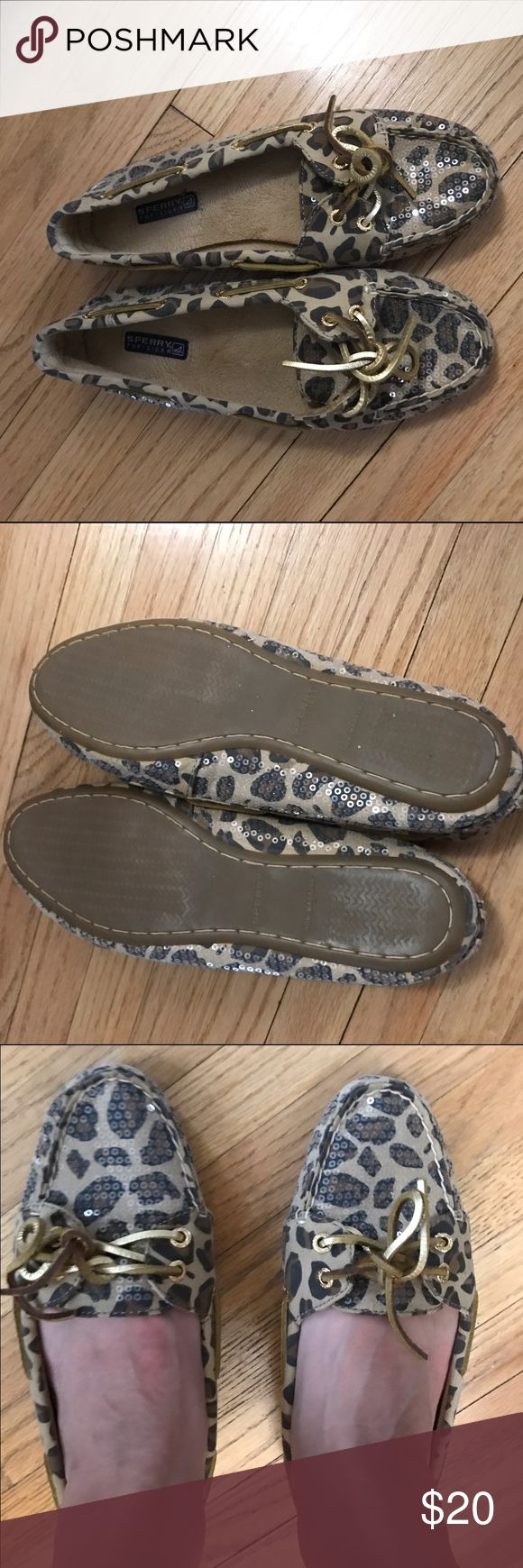 Sperry sequined animal print slippers 7.5 EUC- Sperry brand slippers. Too tight on my feet. Sequined animal print with soft lining Sperry Top-Sider Shoes Slippers