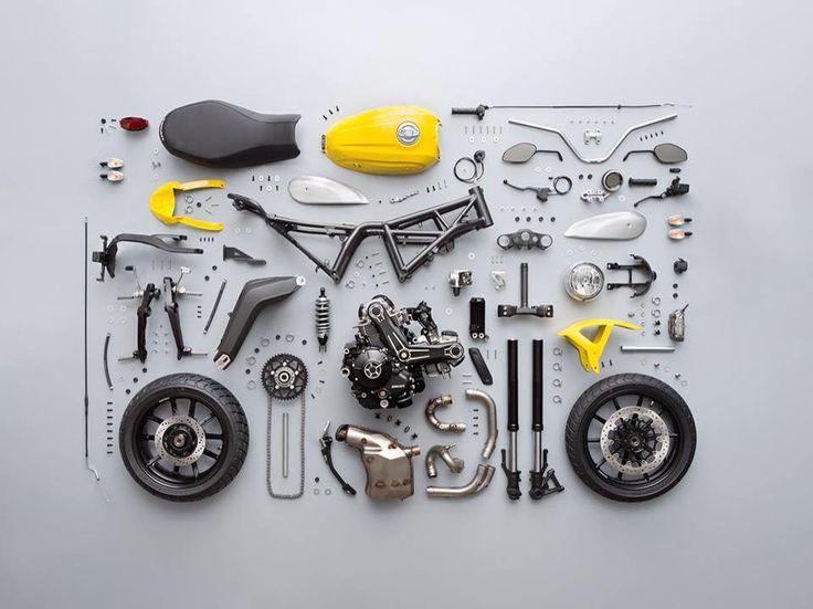 Knolling of Ducati Scrambler 2014  http://scramblerducati.com/it/  #passion #bike #yellow #scrambler #ducati