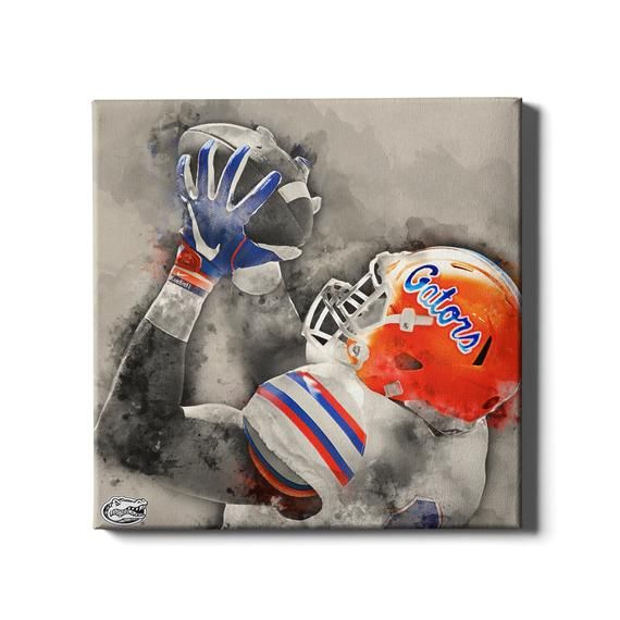 Florida Gators The Catch Watercolor University Of Florida Etsy Football Wall Art College Wall Art Wall Art Designs
