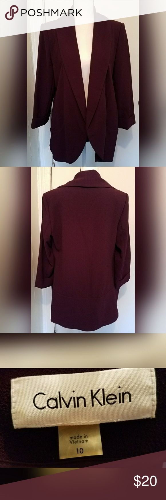 Calvin Klein Purple Blazer Open Front Size 10 Calvin Klein purple blazer.  Women's size 10. True to size.  In excellent condition. No flaws noted.  From a pet/smoke free home.  Machine washable. Calvin Klein Jackets & Coats Blazers