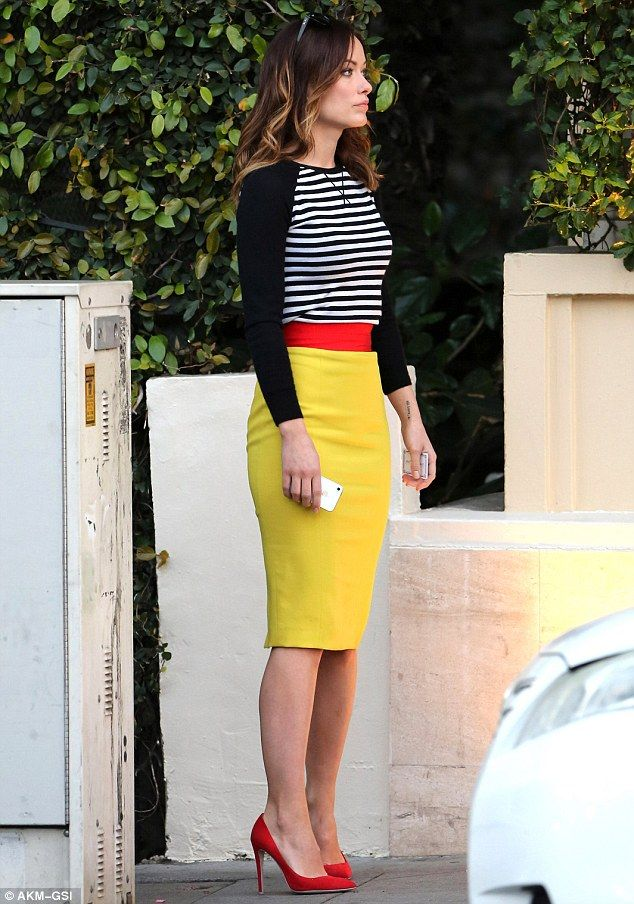 Bright young thing: Olivia Wilde was eye-catching in Breton stripes and red heels
