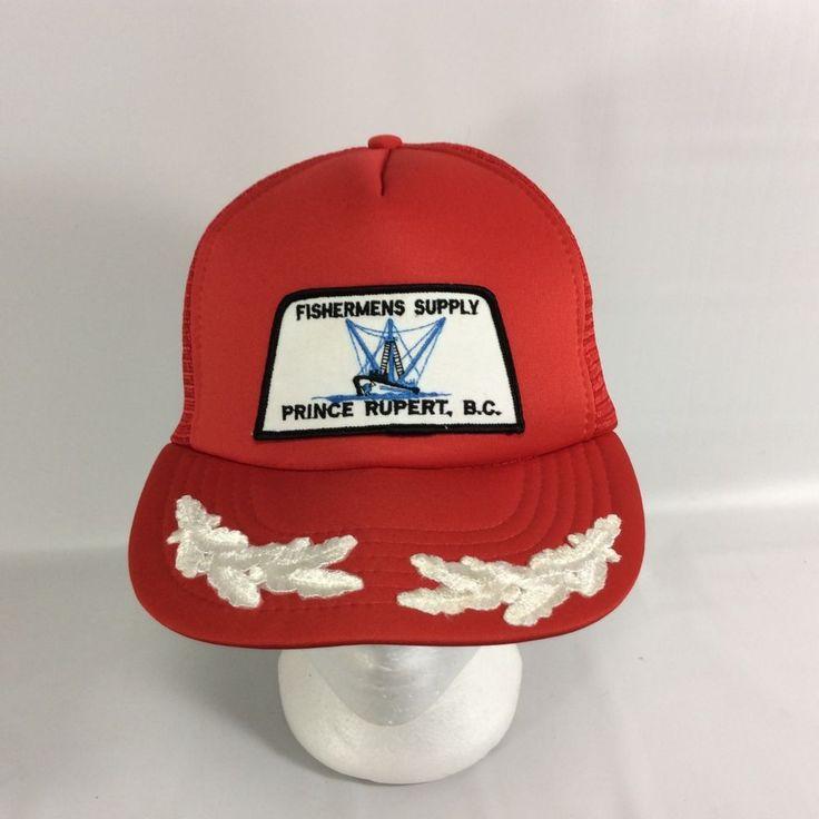 Fishermens Supply Prince Rupert BC Canada Snapback Hat Red Mesh Trucker Hat VTG  #Unbranded #TruckerHat