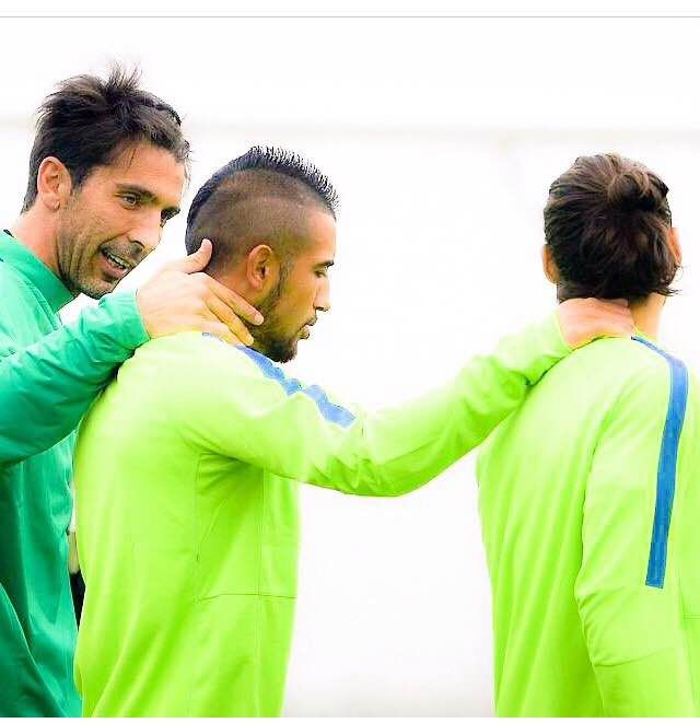 Caceres y Vidal en el Aletico Madrid - Juventus