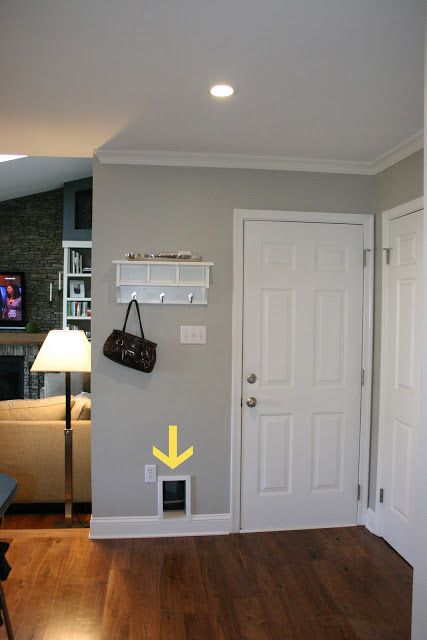 How to hide kitty litter box. (Could do kitty door to garage litter box enclosure.)