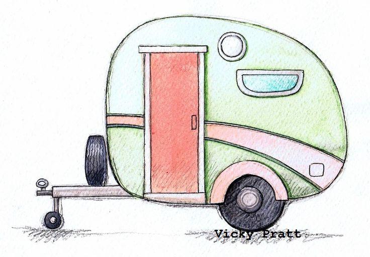 Week 3: Caravan. Watercolour and Unipin fine liner on water colour paper. Retro 60's 70's trailer holidays. http://vicpratt.wix.com/vickypratt Find me on Facebook Vicky Pratt - Illustrator. Original available for sale $20 Au.