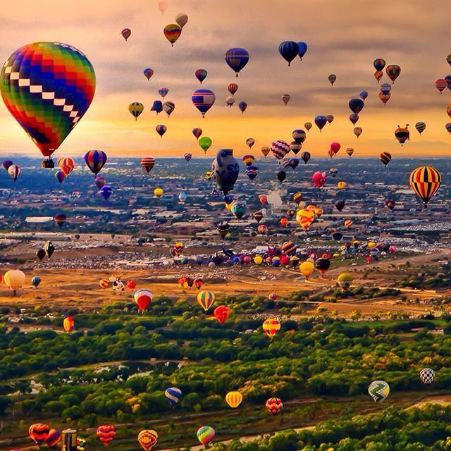 Around the world with me - Albuquerque - New Mexico - USA * ************** Fabulous Colorful Hot Air Balloons - The Albuquerque International Balloon Fiesta - The biggest Hot Air Balloon Festival on Earth - Tag somebody you'd fly with *