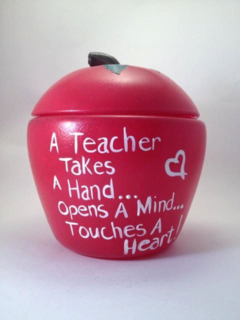 Teacher Gift Hand Painted Apple Treat Jar by Brusheswithaview, $25.00