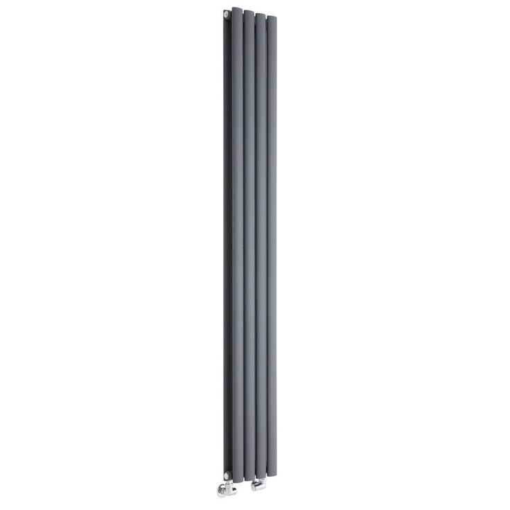 Milano Aruba Slim - Anthracite Space-Saving Vertical Designer Double Radiator 1780mm x 236mm - Grey Anthracite Vertical Designer Radiator