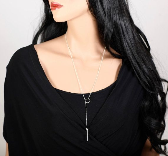 Circle Lariat, Bar Y Chain, Minimal Rosary, Dainty Y Necklace, Minimalistic Layered Necklace.