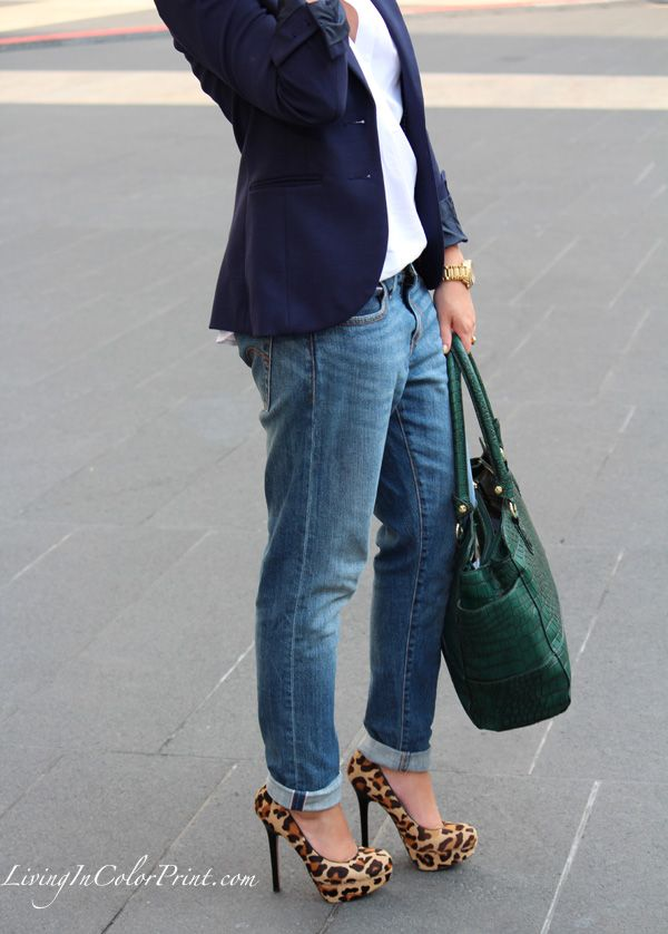 boyfriend jeans + navy blazer + leopard shoes - this works with a tan, cream, red, eggplant or even khaki pant for the office.
