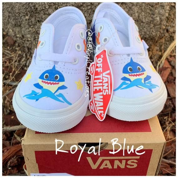 Royal Blue Baby Shark Custom Vans