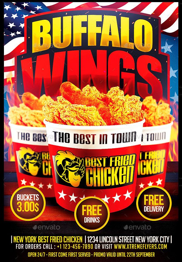Wings Fast Food Flyer Template   Fast Food Flyers   Pinterest ...