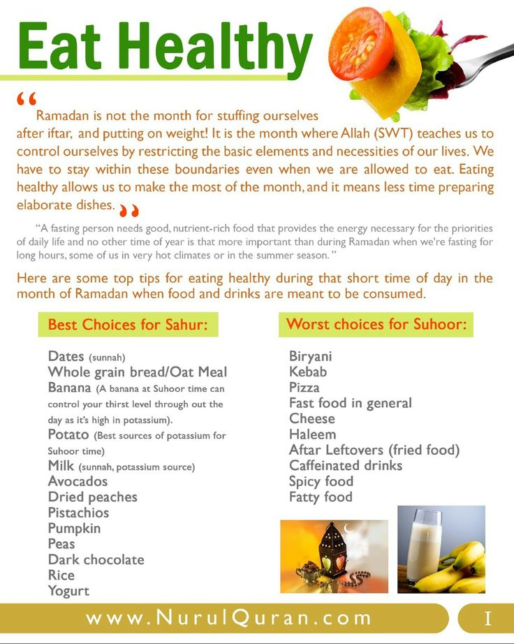 Eat Healthy in Ramadan Best Choices and Worst Choices for Suhoor