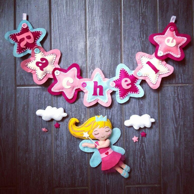 Felt garland - Baby Name - Rachele with fairy - name banner