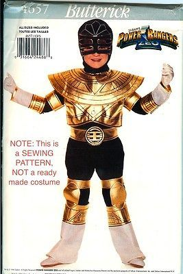 Butterick 4657 Gold Power Rangers Costume PATTERN ZEO child size 4-14 UNCUT FF