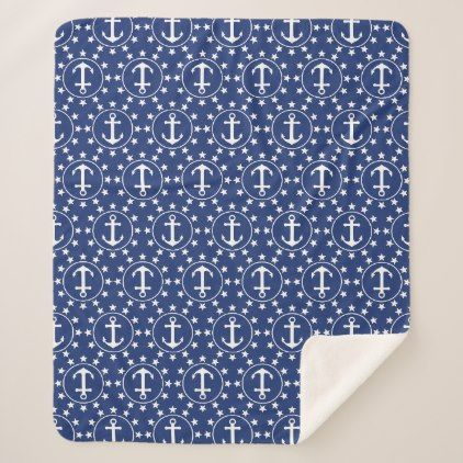 White Anchors and Stars on Navy Nautical Pattern Sherpa Blanket - white gifts elegant diy gift ideas