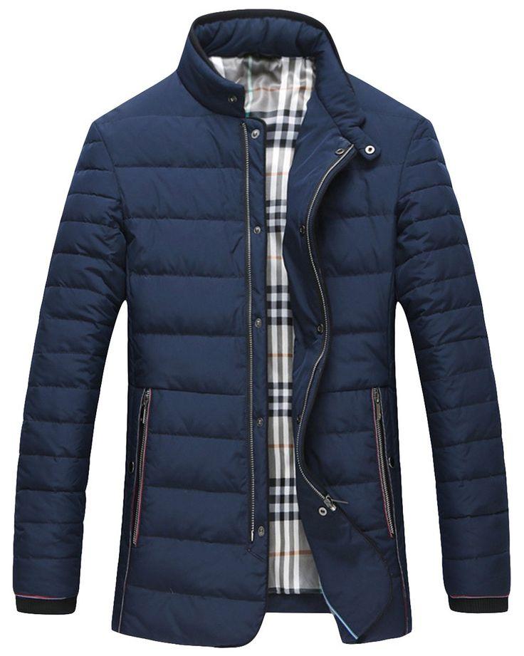 SIERBITE Men's Thicken Stand Collar Zip Up Slim Fit Thicken Casual Down Coats M Blue