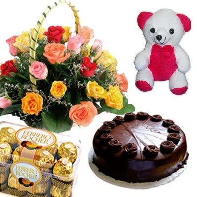Exclusive Combo Pack that given you offer that no one cannot give you. Roses are decorated round the basket with greenery would feast ones eyes.Ferrero Rocher chocolates are Lucious and delightful which are tempting people who didn't even taste it. Who don't like cakes which are there own agnating favor and teddy bears are most loved ones that infact are very soft to catch. Birthday Gifts Vizag are celebrated in our shop2vizag.com in which there are different kinds of gift articles.