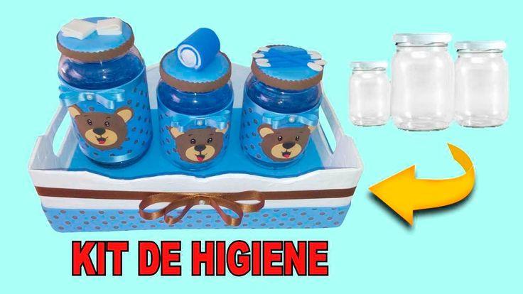 Decoração com potes de vidro ( kit de higiene para bebês)