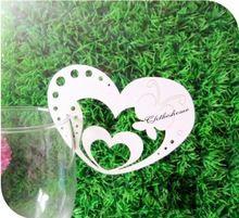 Amore cuore farfalla wine glass table mark nome luogo della carta per la festa di compleanno decorazione di cerimonia nuziale 12 pz(China (Mainland))
